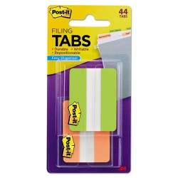 3M - 6862GO - File Tabs, 2 x 1 1/2, Solid, Green/Orange, 44/Pack