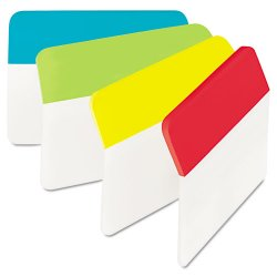 3M - 686A-ALYR - Angled Tabs, 2 x 1 1/2, Solid, Aqua/Lime/Red/Yellow, 24/Pack