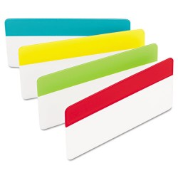 3M - 686-ALYR3IN - File Tabs, 3 x 1 1/2, Solid, Aqua/Lime/Red/Yellow, 24/Pack