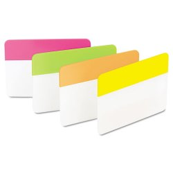 3M - 686-PLOY - File Tabs, 2 x 1 1/2, Solid, Flat, Assorted Bright, 24/Pack