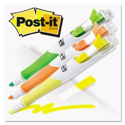 3M - 689-HL3FL - Post-it Flags Highlighter Pen - 9.4 mm Marker Point Size - Yellow, Green, Orange Ink - 3 / Pack
