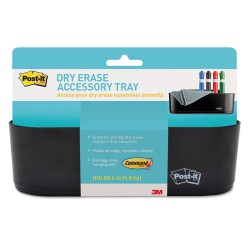 3M - DEFTRAY - Post-it Dry Erase Accessory Tray - 5.2 x 8.4 x 3 - Plastic - 1 Each - Black