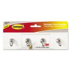3M - HOM-18Q-ES - Decorative Key Rail, 8w x 1 1/2d x 2 1/8h White/Silver, 4 Hooks/Pack
