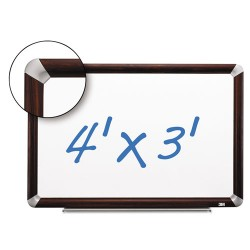 3M - P4836FMY - Porcelain Dry Erase Board, 48 x 36, Mahogany Finish Frame