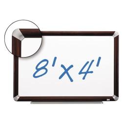 3M - P9648FMY - Dry Erase Board Porcelain 96x48 Mahogany Finish Frame