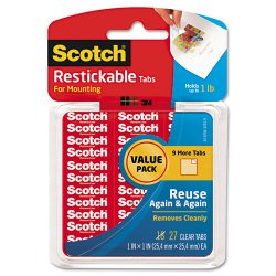 "3M - R100VPC - Scotch Restickable Tabs Value Pack - 1"" Width x 1"" Length - Removable, Reusable, Self-adhesive, Photo-safe, Stain Resistant - 27 / Pack - Clear"