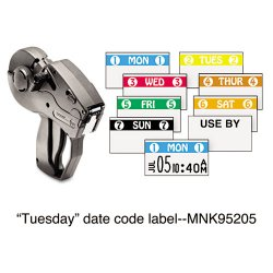 Avery Dennison - 925205A - Monarch Freezer-proof Days of the Week Labels - Permanent Adhesive - 2 TUES 2 - White, Yellow - 2500 / Roll - 1 Roll