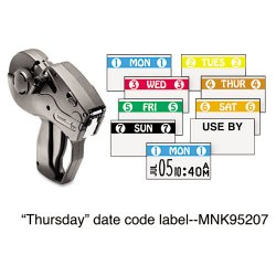 Avery Dennison - 925207A - Monarch Freezer-proof Days of the Week Labels - Permanent Adhesive - 4 THUR 4 - White, Brown - 2500 / Roll - 1 Roll