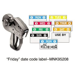 Avery Dennison - 925208A - Monarch Freezer-proof Days of the Week Labels - Permanent Adhesive - 5 FRI 5 - White, Green - 2500 / Roll - 1 Roll