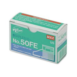 Max USA - NO-50FE - Staple Cartridge for EH-50F Flat-Clinch Electric Stapler, 5, 000/Box