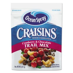 Ocean Spray - 21074 - Craisins Trail Mix, Cranberry Chocolate, 8 oz Bag, 12/Carton