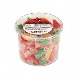 Office Snax - 00005 - Assorted Fruit Slices Candy, Individually Wrapped, 2 lb Resealable Plastic Tub