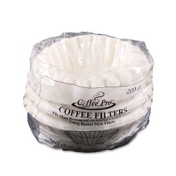 Coffee Pro - CPF200 - Basket Filters for Drip Coffeemakers, 10 to 12-Cups, White, 200 Filters/Pack