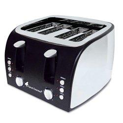 Coffee Pro - OG8166 - 4-Slice Multi-Function Toaster with Adjustable Slot Width, Black/Stainless Steel