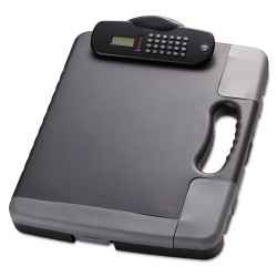 OfficeMate - 83302 - Portable Storage Clipboard Case w/Calculator, 11 3/4 x 14 1/2, Charcoal