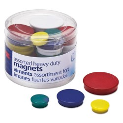 OfficeMate - 92501 - Assorted Heavy-Duty Magnets, Circles, Assorted Sizes & Colors, 30/Tub