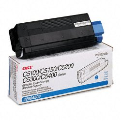 Okidata - 42804503 - Oki Original Toner Cartridge - LED - 3000 Pages - Cyan - 1 Each