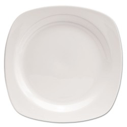 Office Settings - CTS1 - Chef's Table Fine Porcelain Square Dinnerware, Plate, 10 1/2 dia, White, 8/Box