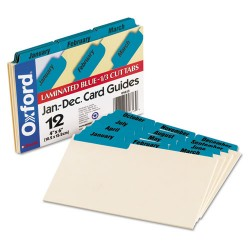 Oxford - 04613 - Laminated Tab Index Card Guides, Monthly, 1/3 Tab, Manila, 4 x 6, 12/Set