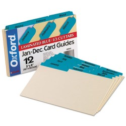 Oxford - 05813 - Laminated Tab Index Card Guides, Monthly, 1/3 Tab, Manila, 5 x 8, 12/Box