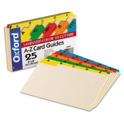 Oxford - 05827 - Laminated Tab Index Card Guides, Alpha, 1/5 Tab, Manila, 5 x 8, 25/Set
