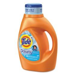 Procter & Gamble - 87458 - Tide Plus Downy Detergent - Liquid - 0.36 gal (46 fl oz) - Clean Breeze ScentBottle - 1 / Bottle - Orange
