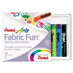 Pentel - PTS7 - Pentel Arts Fabric Fun Pastel Dye Sticks - Assorted Wax - 7 / Set