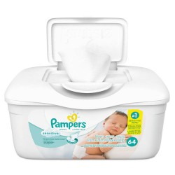 Procter & Gamble - 10037000195051 - Sensitive Baby Wipes, White, Cotton, Unscented, 64/Tub, 8 Tub/Carton