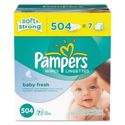 Procter & Gamble - 10037000282508 - Baby Fresh Wipes, White, Cotton, 504/Carton