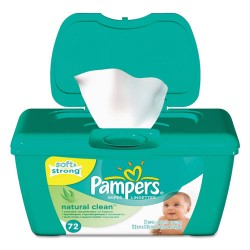 Procter & Gamble - 10037000282522 - Natural Clean Baby Wipes, Unscented, White, Cotton, 72/Tub