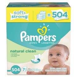 Procter & Gamble - 10037000282539 - Natural Clean Baby Wipes, Unscented, White, Cotton, 504/Carton