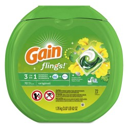 Procter & Gamble - 037000867920 - Flings Laundry Detergent Pods, Original Scent, 0.06 Pac, 72/Container