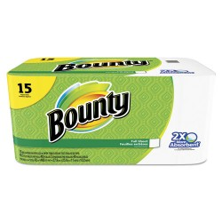 Procter & Gamble - 94993 - Bounty Full Sheet Paper Towels - 2 Ply - 40 Sheets/Roll - White - Absorbent, Perforated - For Kitchen - 15 / Pack