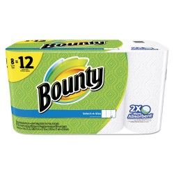 Procter & Gamble - 95012 - Bounty Select-a-Size Paper Towels - 2 Ply - 95 Sheets/Roll - White - For Kitchen - 8 / Pack