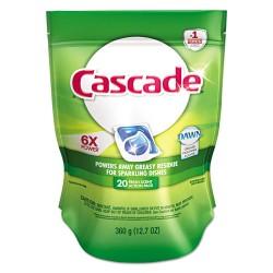 Procter & Gamble - 97716 - Cascade Dishwasher Detergent - 10.80 oz (0.67 lb) - Fresh Scent - 20 / Bag - White