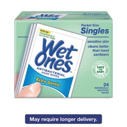 Wet Ones - 04721 - Hand Wipes for Sensitive Skin, 4 25/32 x 2 27/32, Fragrance-Free, 24/BX, 10BX/CT