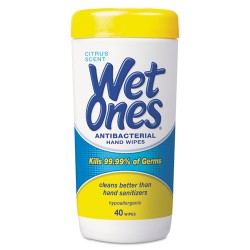 Wet Ones - PLA 4672 - Antibacterial Moist Towelettes, 5 x 7 1/2, White, 40/Canister, 12/Carton