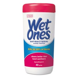 Wet Ones - PLA 4703 - Antibacterial Moist Towelettes, 5 x 7 1/2, White, 40/Canister, 12/Carton
