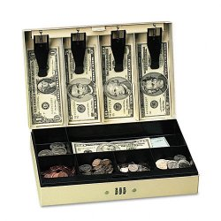 PM Company - 4961 - Steel Cash Box w/6 Compartments, Three-Number Combination Lock, Pebble Beige