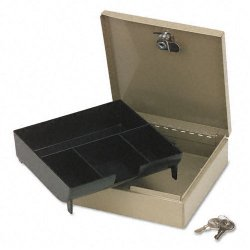 PM Company - 4962 - Steel Personal Cash/Security Box w/4 Compartments, Key Lock, Pebble Beige