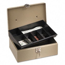 PM Company - 4963 - Lock'n Latch Steel Cash Box w/7 Compartments, Key Lock, Pebble Beige