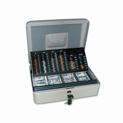 PM Company - 4967 - 3-in-1 Cash-Change-Storage Steel Security Box w/Key Lock, Pebble Beige