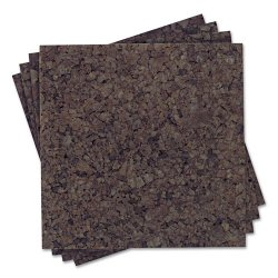 Acco Brands - 101Q - Quartet Extra Thick Dark Cork Panels - 12 Height x 12 Width - Brown Cork Surface - Self-stick, Self-healing - 4 / Pack
