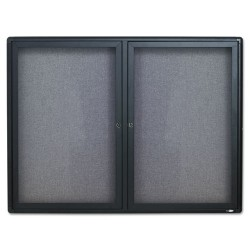 Acco Brands - 2364L - Quartet Enclosed Radius Fabric Bulletin Board, 4' x 3', 2 Door, Graphite Frame - 36 Height x 48 Width - Gray Fabric Surface - Graphite Frame - 1 / Each