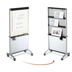Acco Brands - 500TE - Total Erase 3-In-1 Presentation Easel, 33 x 39, White Surface, Silver Frame