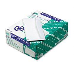 Quality Park - 11116 - Quality Park Recycled Regular Business Envelopes - Business - #10 - 4 1/8 Width x 9 1/2 Length - 24 lb - Gummed - 500 / Box - White