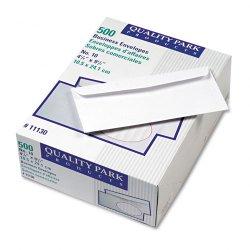 Quality Park - 11130 - Quality Park Embossed Ridges No. 10 Envelopes - Business - #10 - 4 1/8 Width x 9 1/2 Length - 24 lb - Gummed - Poly - 500 / Box - White