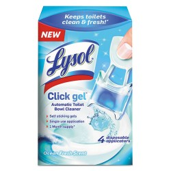Reckitt Benckiser - 92918 - Lysol Ocean Click Gel Toilet Cleaner - Gel - 0.17 oz (0.01 lb) - Ocean Fresh Scent - 4 / Box - Light Blue