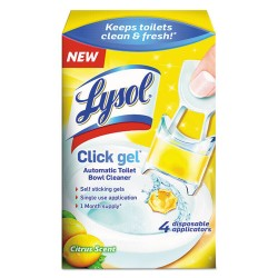 Reckitt Benckiser - 92920 - Lysol Citrus Click Gel Toilet Cleaner - Gel - 0.17 oz (0.01 lb) - Citrus Scent - 4 / Box - Light Yellow