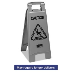 Rubbermaid - 1867506 - Executive 2-Sided Multi-Lingual Caution Sign, Gray, 10 9/10 x 26 1/10, 6/Carton